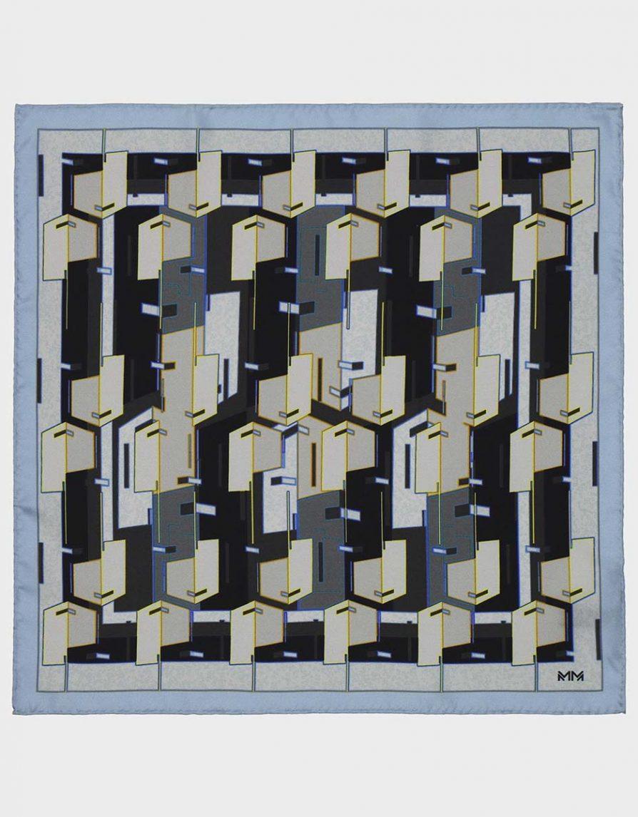Architectural Blocks Silk Twill Pocket Square in Light Blue