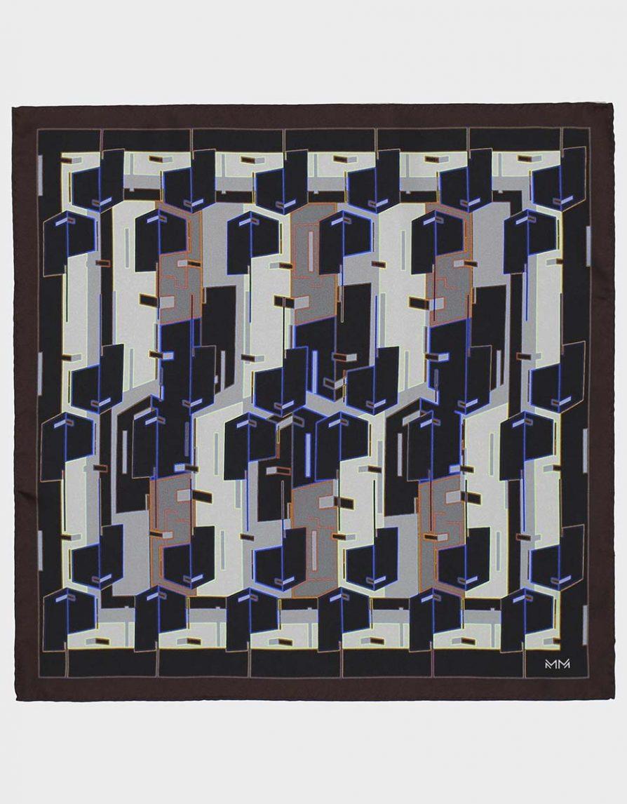 Architectural Blocks Silk Twill Pocket Square in Brown