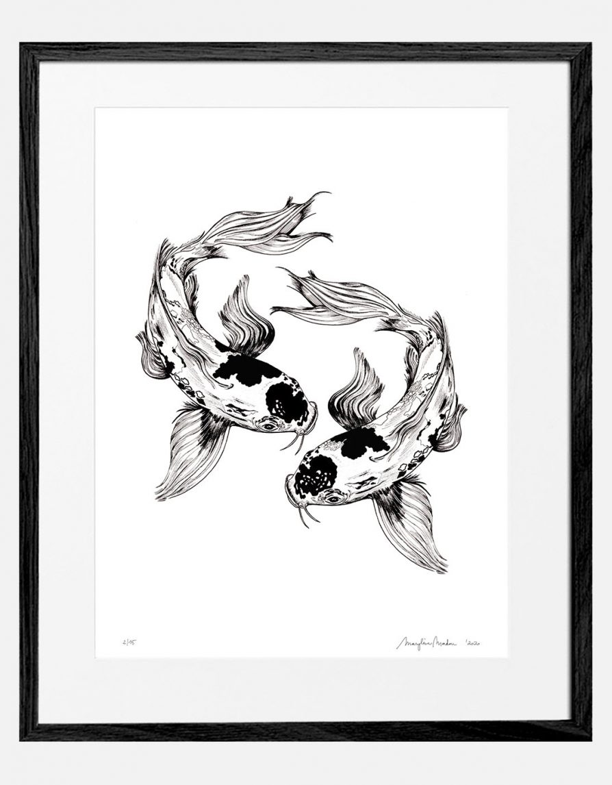 Reproduced art print Giclée with original Koi Fish drawing | Online Exclusive