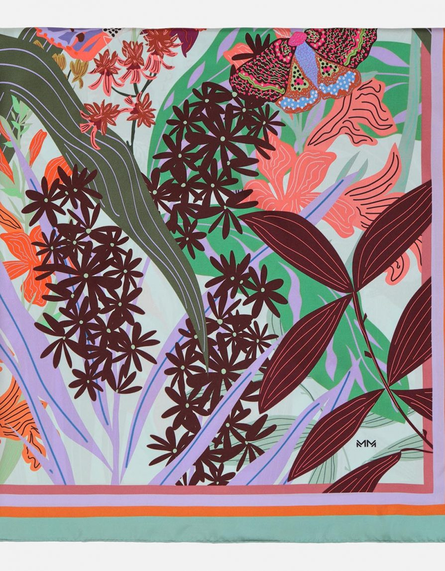 Butterflies, Insects and Leaves | Ice Burgundy Mint with Dusty Jade Border | Large Silk Twill Square Scarf