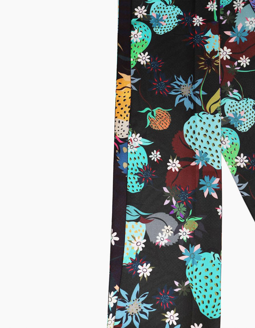 Super Long Skinny Scarf in Dark Strawberry Print | Black Green Turquoise | Silk Twill