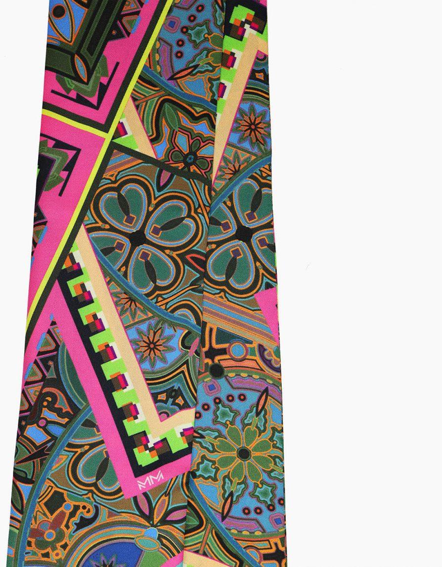Mixed Tiles | Pink Yellow Green | Long Slim Silk Twill Scarf