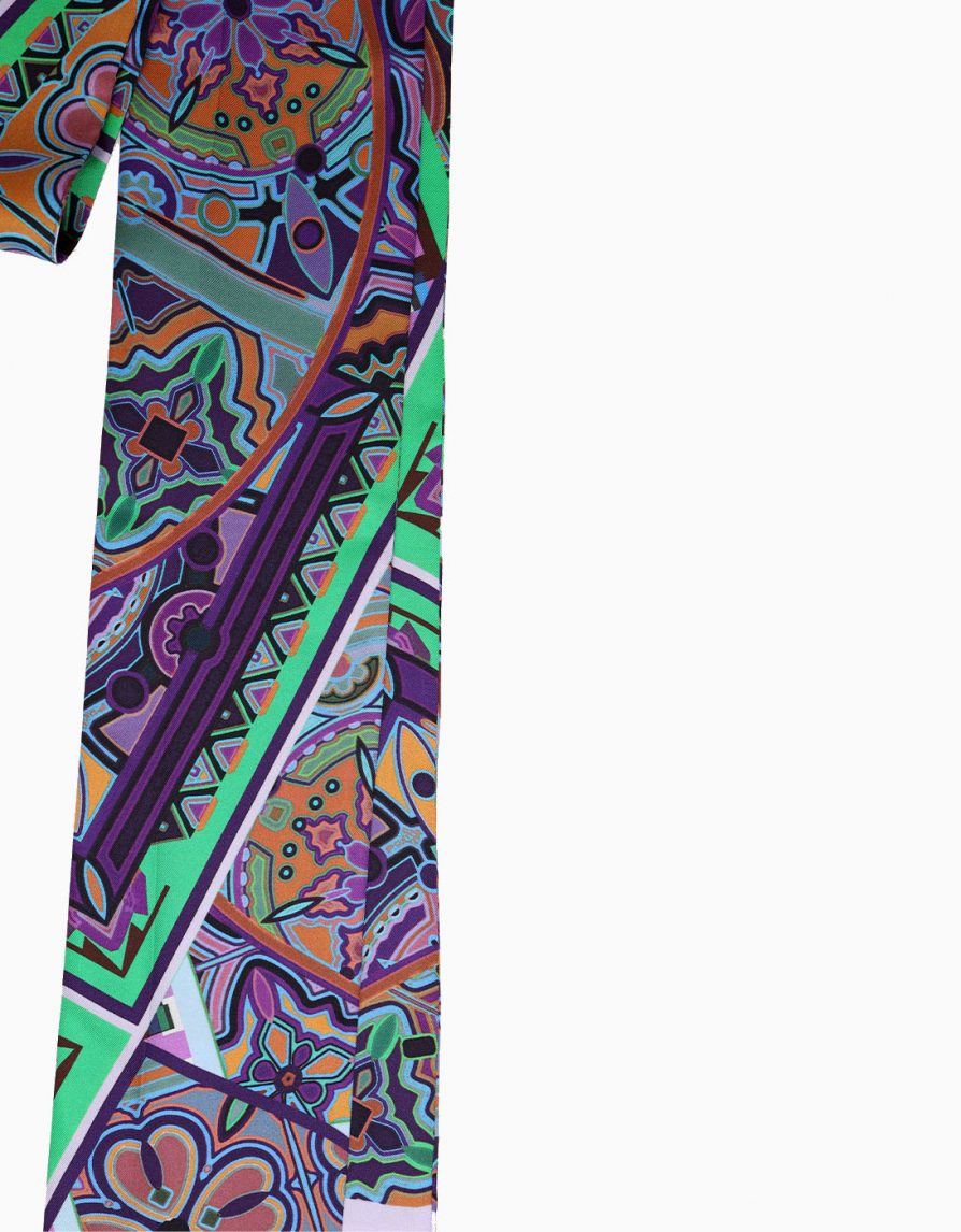 Super Long Skinny Scarf in Mixed Tiles Print | Lilac Green Purple | Silk Twill