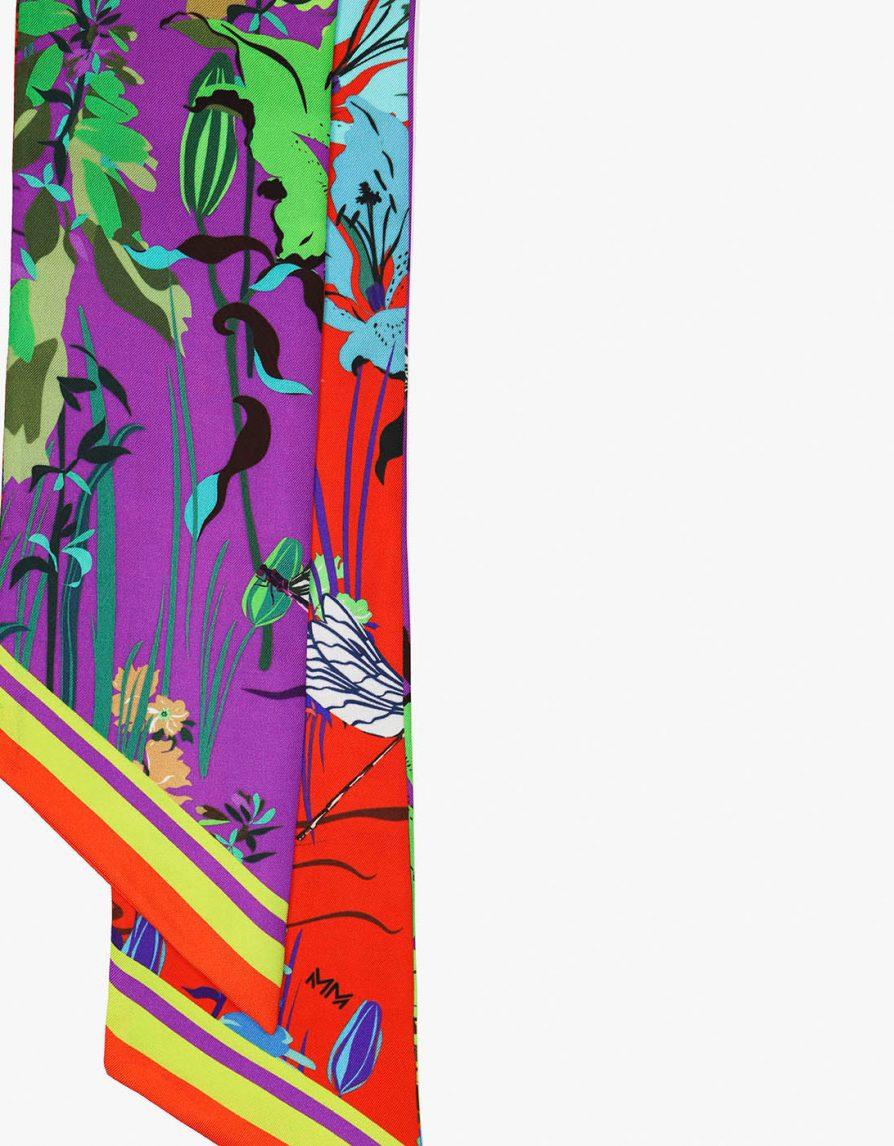 Lily Pond | Purple Red Fluorescent Green | Long Slim Silk Twill Scarf