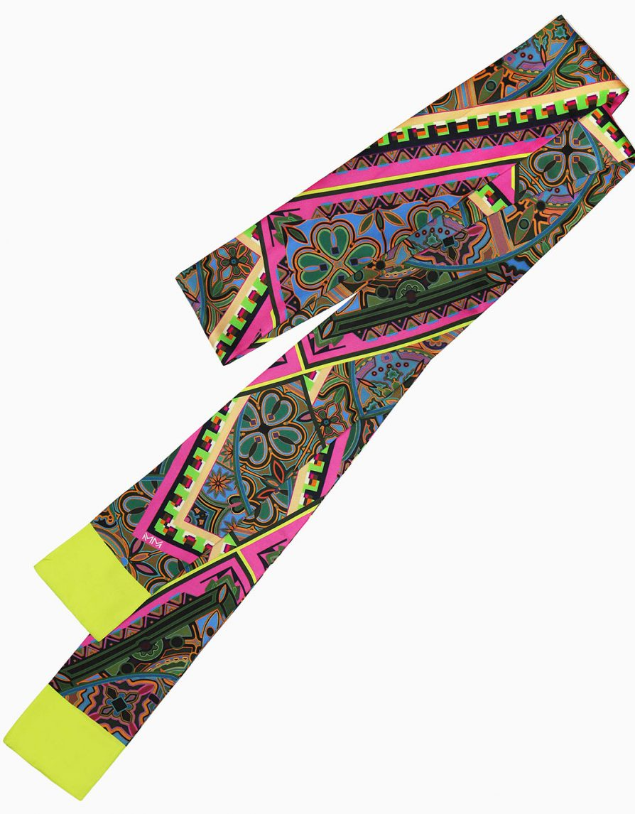 Super Long Skinny Scarf in Mixed Tiles Print | Lime Green Pink | Silk Twill