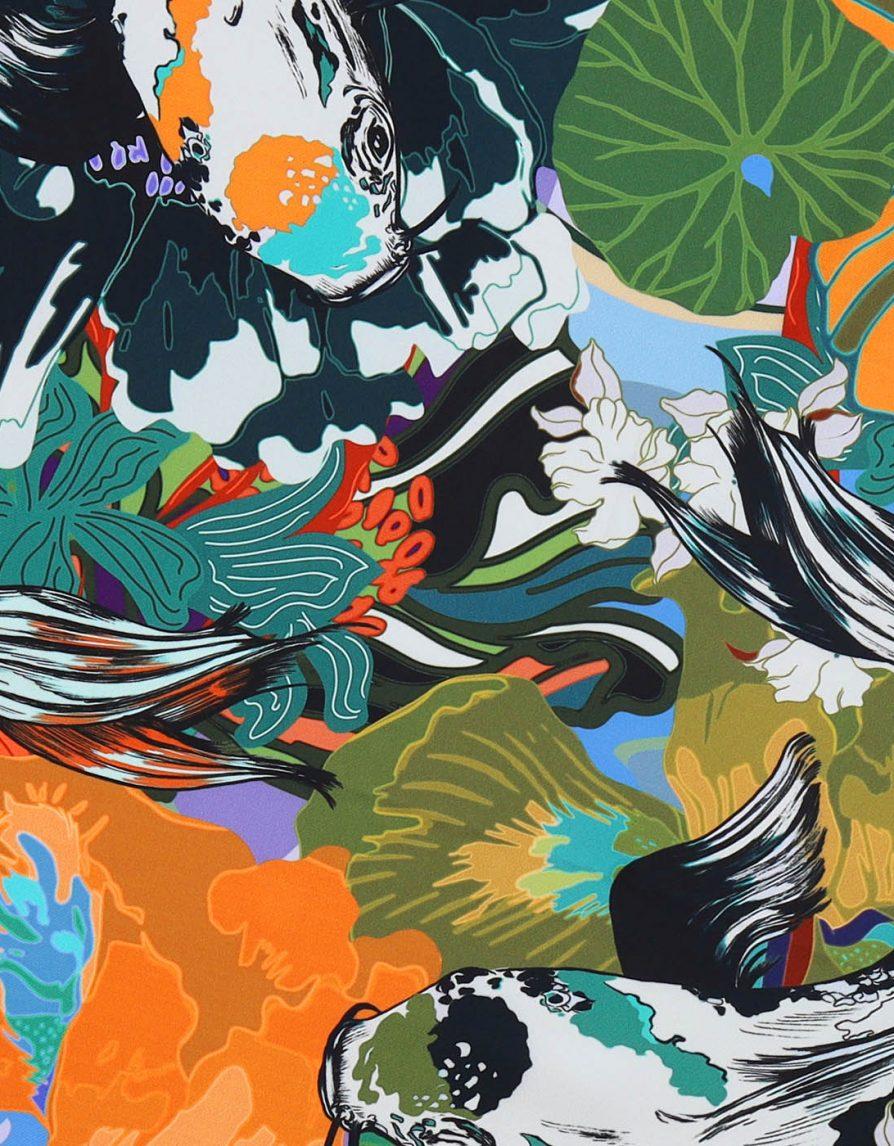 Flowery Garden Pond with Big Koi Green | Classic Silk Twill Square Scarf