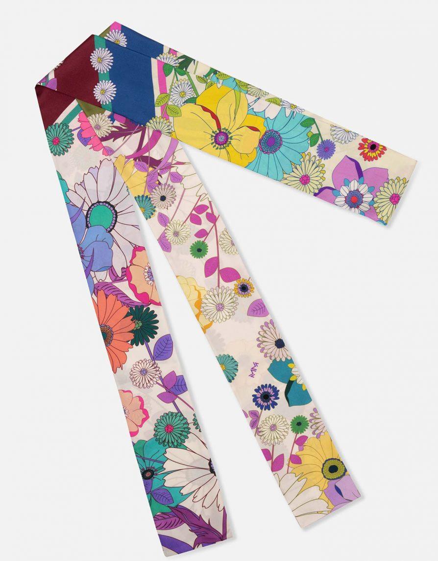 Retro Flowers Japan | Silk Twill Extra Long Skinny Scarf | White Grey Multicolor