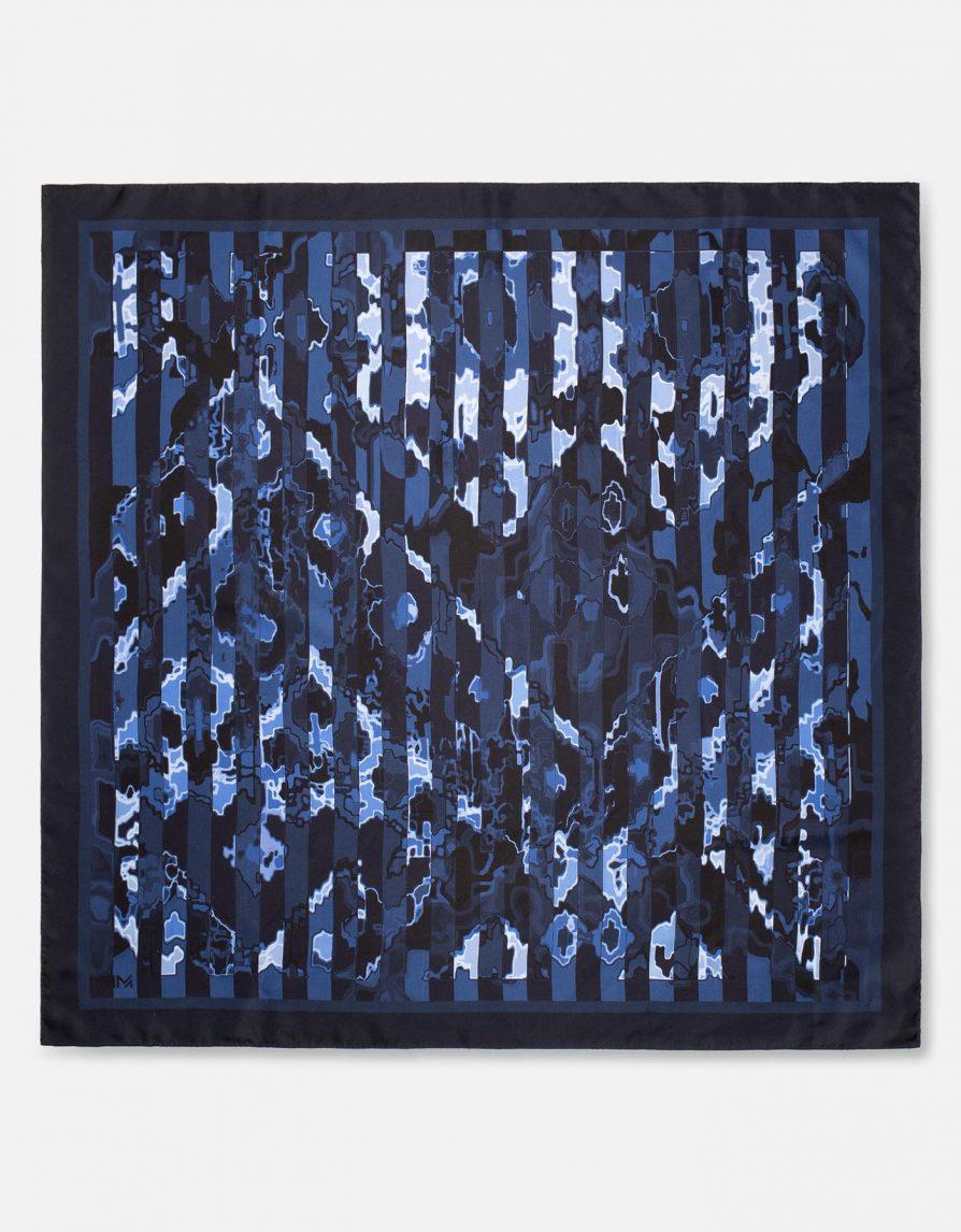 Persian Carpet Stripes | Dark Navy Blue | Classic Silk Twill Square Scarf