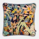 Butterfly Garden Cushion | Belgian Linen with Grey Blue piping | Navy Multicolor