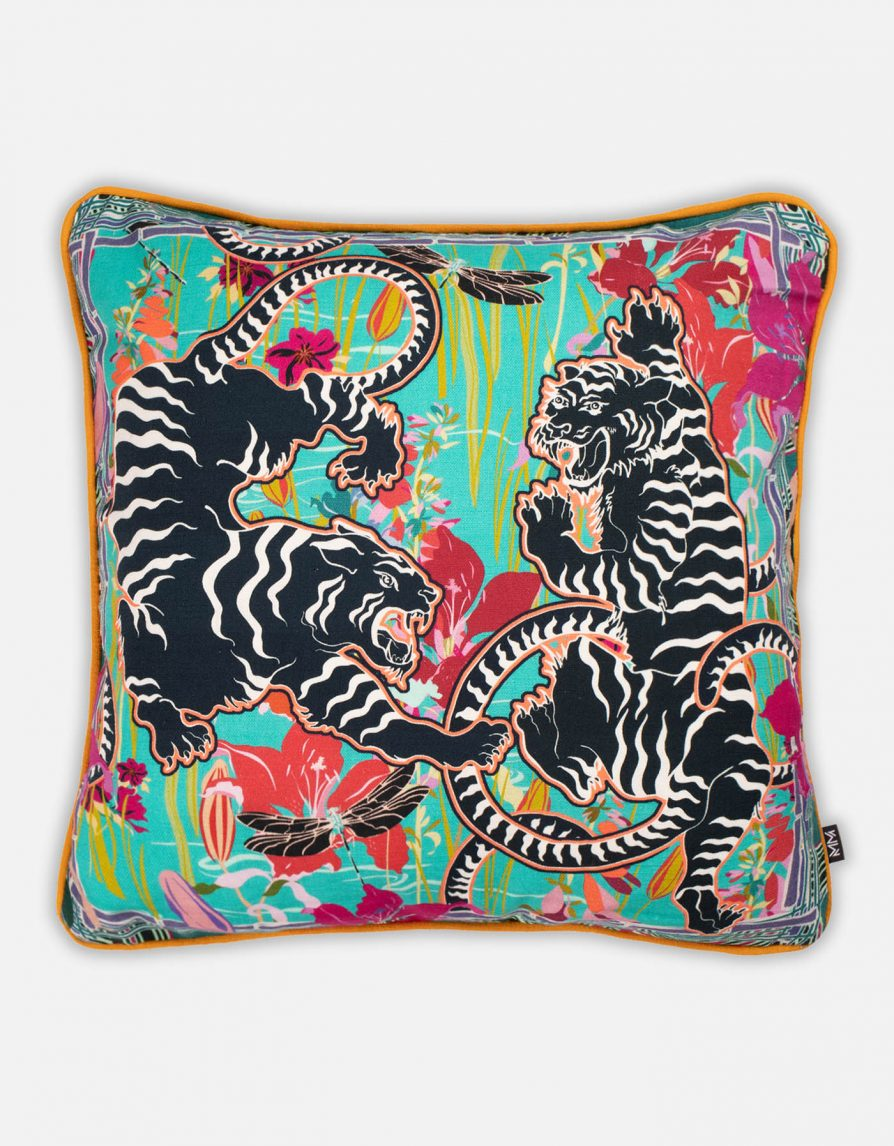 Tigers Double-sided Cushion | Belgian Linen with Curry Yellow piping | Petrol Turquoise