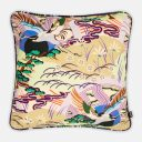Crane Bird & Rising Sun Cushion   Belgian Linen with Contrast Print piping   Pale Olive