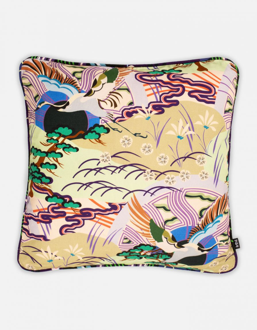 Crane Bird & Rising Sun Cushion | Belgian Linen with Contrast Print piping | Pale Olive