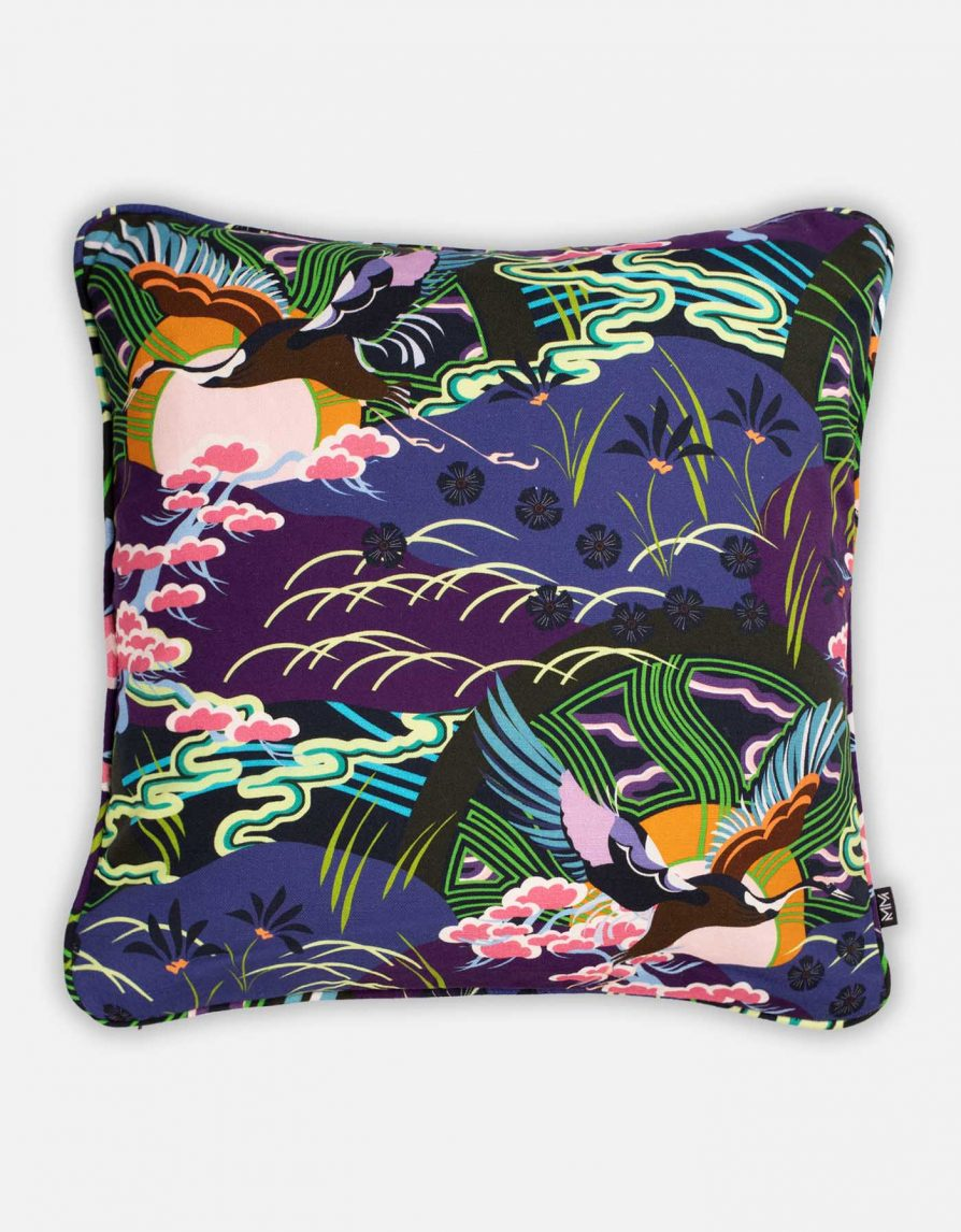 Crane Bird and Rising Sun Cushion | Belgian Linen with Print piping | Navy Purple