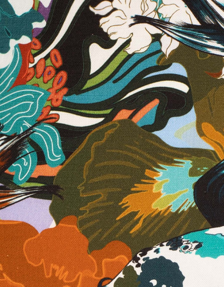 Floral Koi Cushion | Belgian Linen with Black piping | Khaki Orange