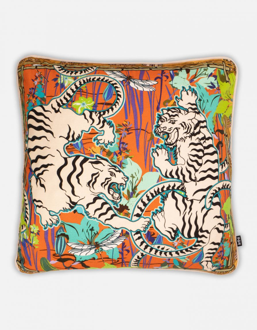 Tigers Double-sided Cushion | Belgian Linen with Beige piping | Cream Orange