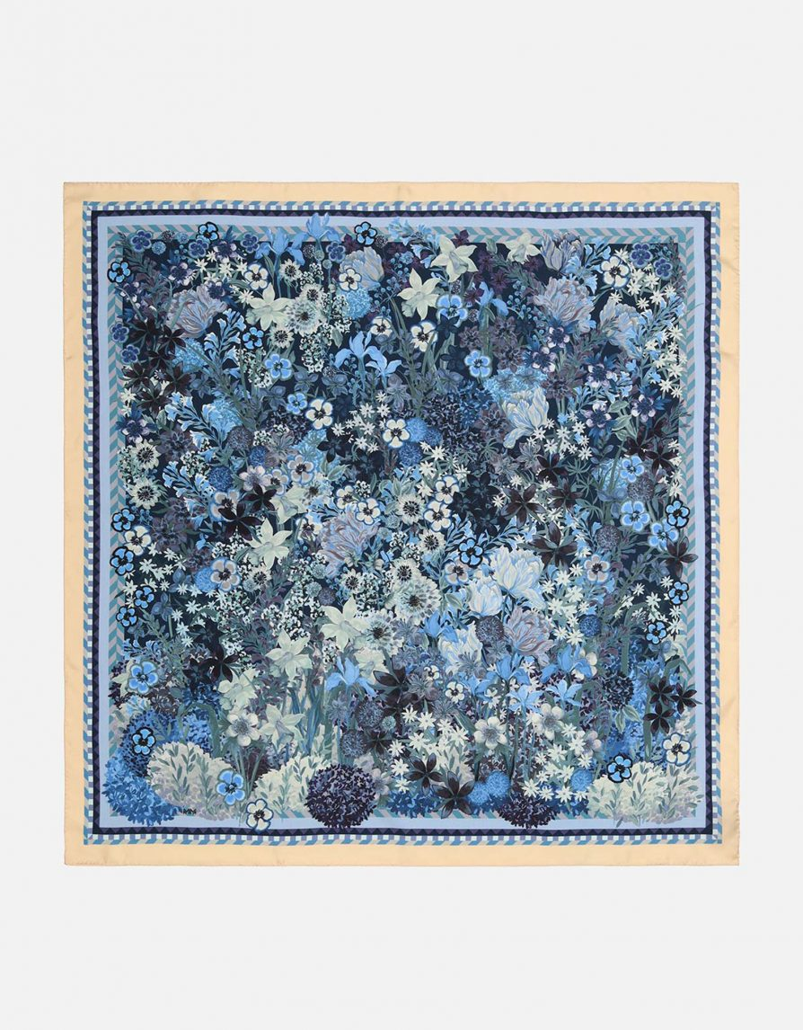 My Dream Garden | Blue Butter Mint | Classic Silk Twill Square Scarf