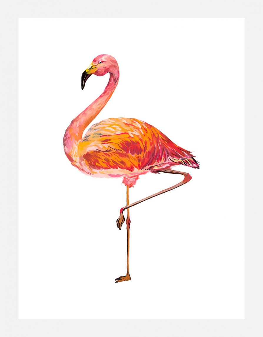 Reproduced art print Giclée with original Flamingo Painting | Online Exclusive