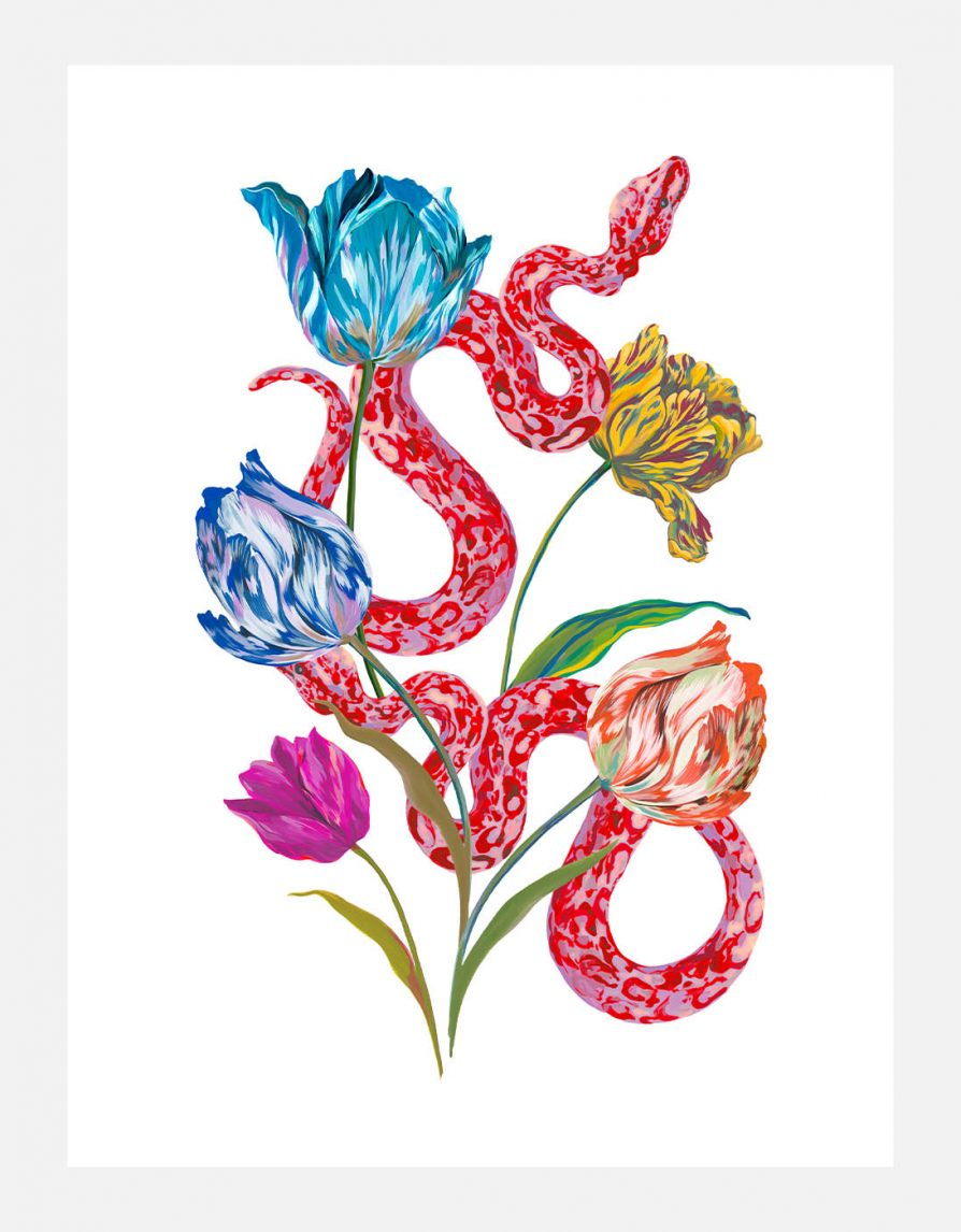 Reproduced art print Giclée with original Snakes & Tulips Painting | Online Exclusive