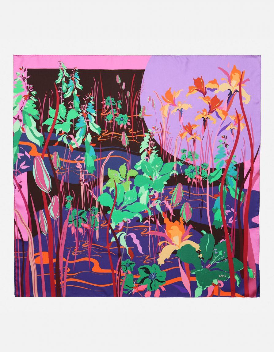 Lily Pond | Dark Brown Lilac Green | Classic Silk Twill Square Scarf