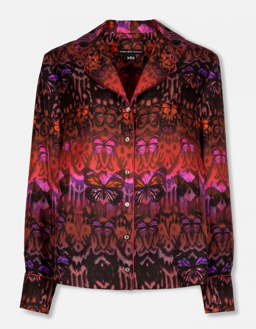 Butterfly Ikat Silk Twill Straight Shirt   Merlot Fuchsia
