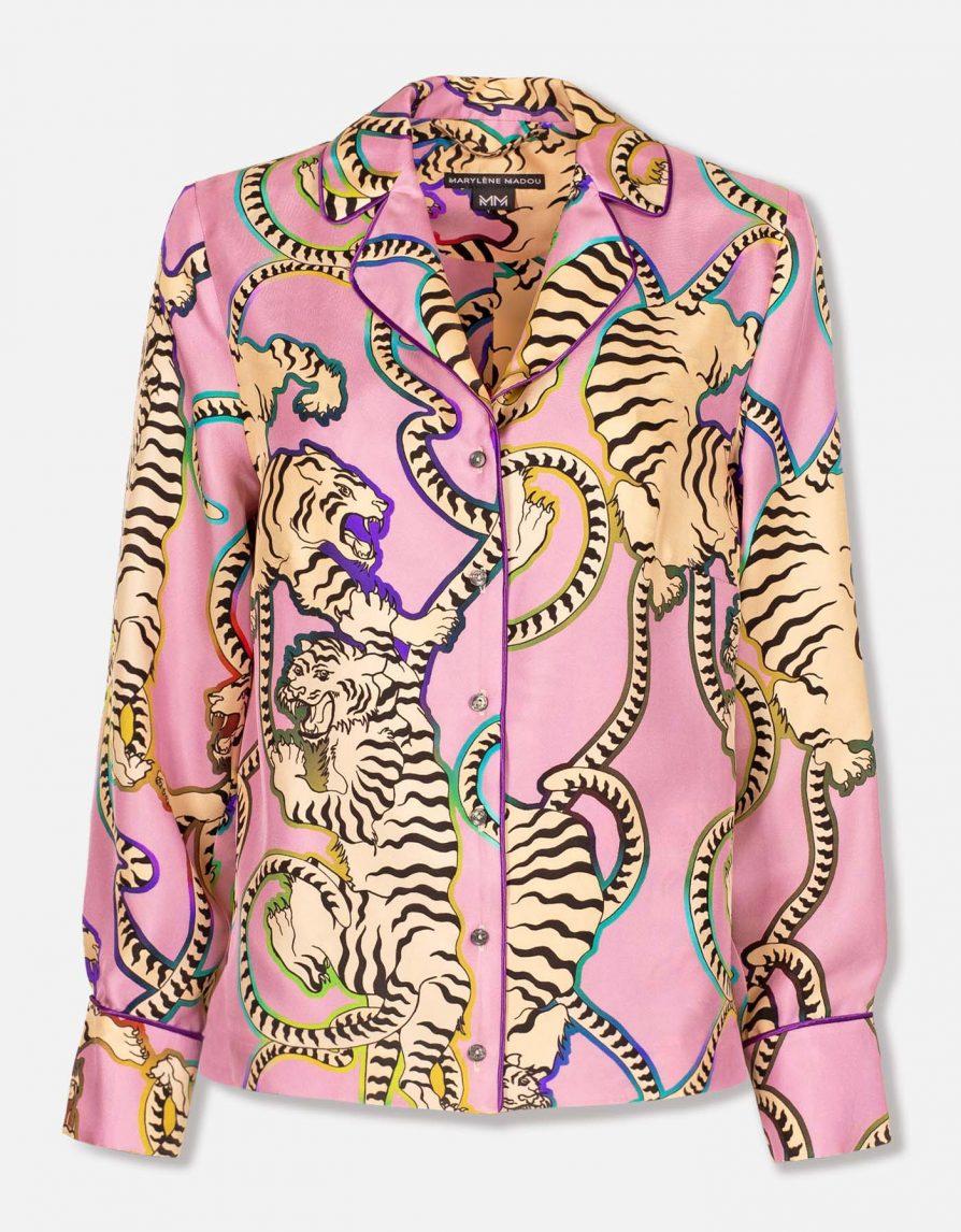 Rainbow Tigers Silk Twill Straight Shirt | Taffy Pink Cream