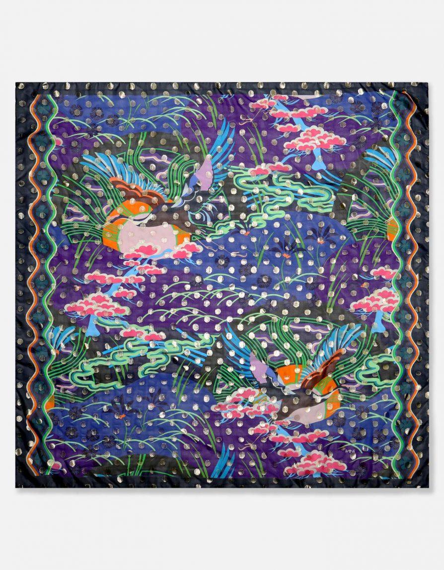 Rising Sun and Crane Bird | Navy Green Gold | Maxi Chiffon Silk-Blend Fil Coupé Pareo Scarf