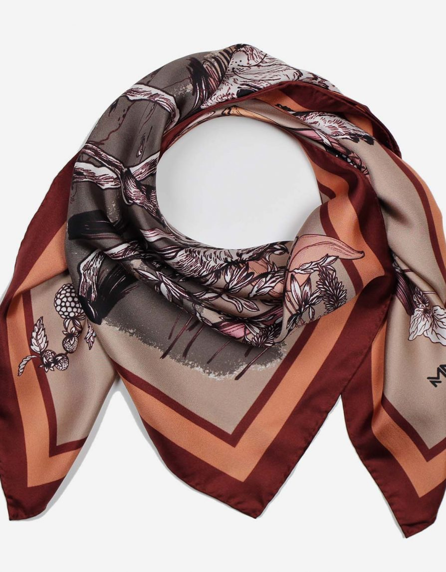 Forest Animals Awakening for Spring | Red Rust Camel Grey | Classic Silk Twill Square Scarf