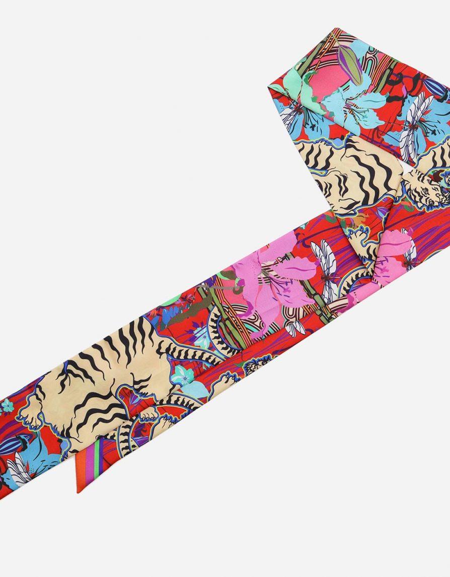 White Tigers Pond Scene | Pink Red Cream | Long Slim Silk Twill Scarf