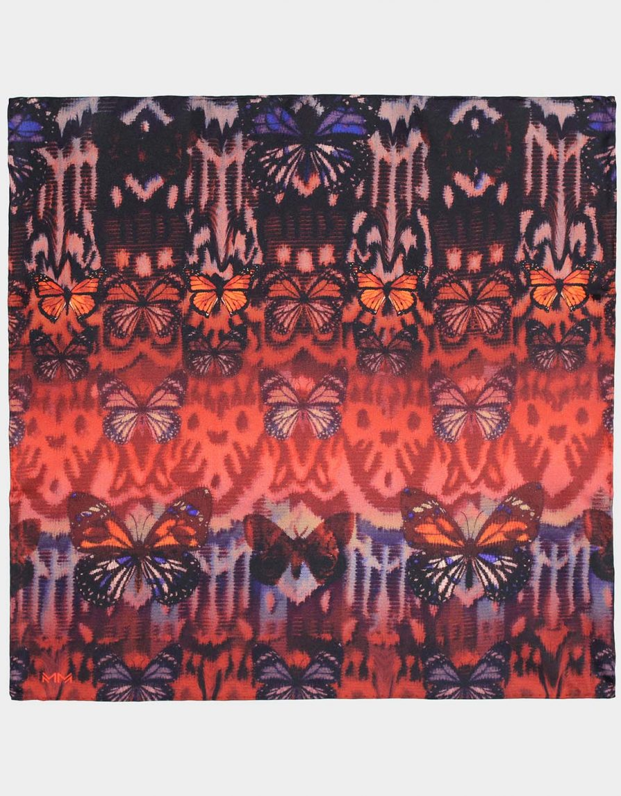 Butterfly Ikat Gradient Silk Twill Pocket Square In Orange Rust and Brown