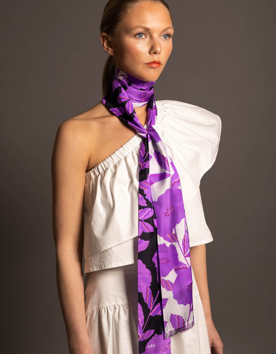 Poppy Field Double-Sided | Silk Twill Extra Long Skinny Scarf Frayed Edges | White Black Purple