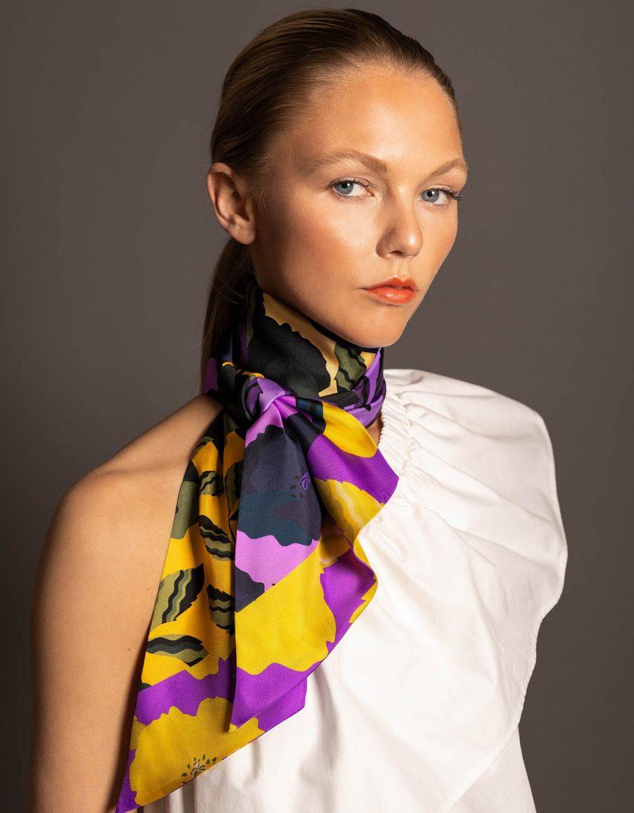 Poppy Field Collage | Black Olive Purple | Long Silk Twill Scarf