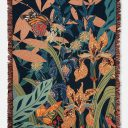 Woven Cotton Throw Blanket | Lightweight Tapestry | Butterfly Garden | Navy Multicolor