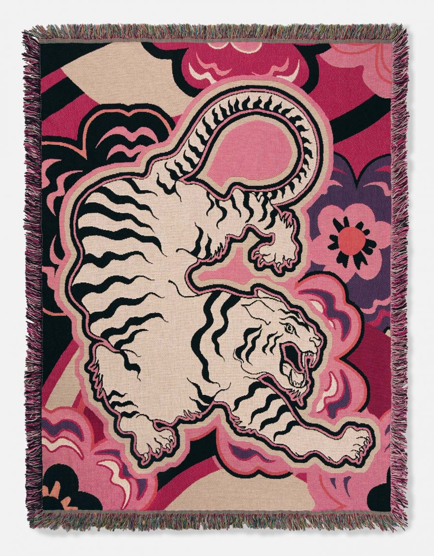 Woven Cotton Throw Blanket | Lightweight Tapestry | White Tiger Japan Flowers | Pink