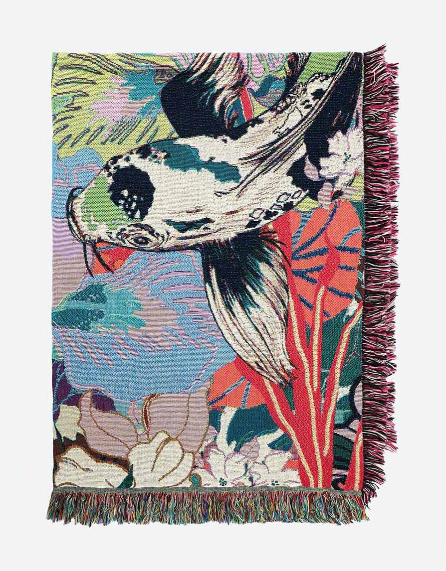 Woven Cotton Throw Blanket |  Lightweight Tapestry | Koi Flower Garden | Multicolor