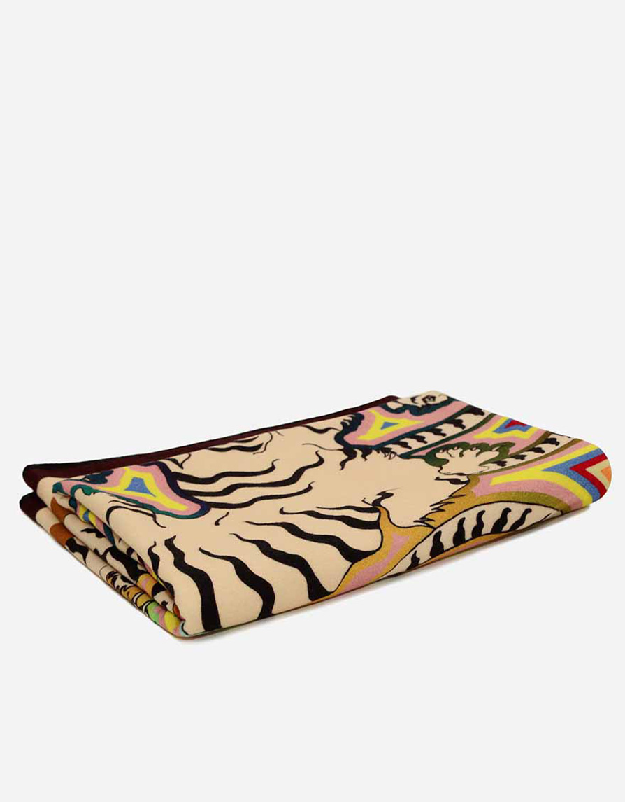 Pure English Lambswool Lightweight Throw Blanket | Tigers Print | Multicolor and Brown