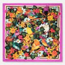 Forest Birds with Paint Border   Fuchsia Yellow Black   Classic Silk Twill Square Scarf