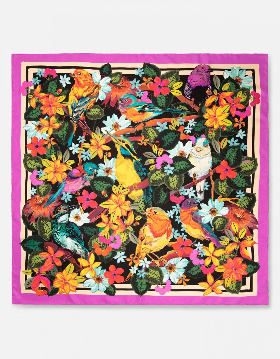 Forest Birds with Paint Border | Fuchsia Yellow Black | Classic Silk Twill Square Scarf