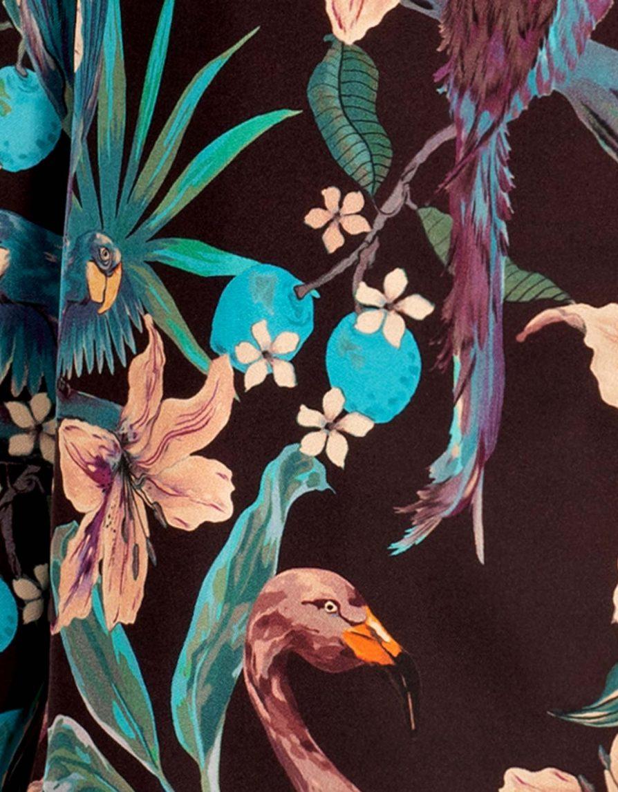 Jungle Birds Flamingo Silk Twill Straight Shirt   Brown Maroon Petrol