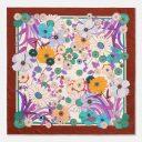 Retro Flowers Japan | Warm Clay Aqua Lavender | Classic Silk Twill Square Scarf