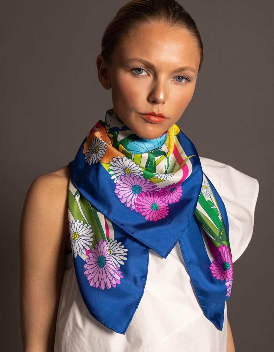Retro Flowers Japan | Royal Blue Rainbow Multicolor | Classic Silk Twill Square Scarf