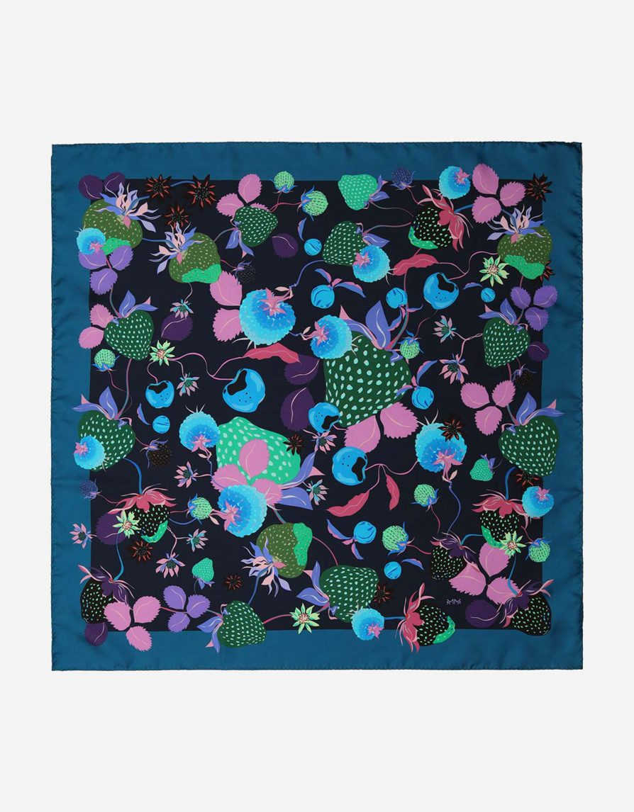 Vintage Strawberries | Teal Blue Navy Green | Small Silk Twill Neckerchief Scarf
