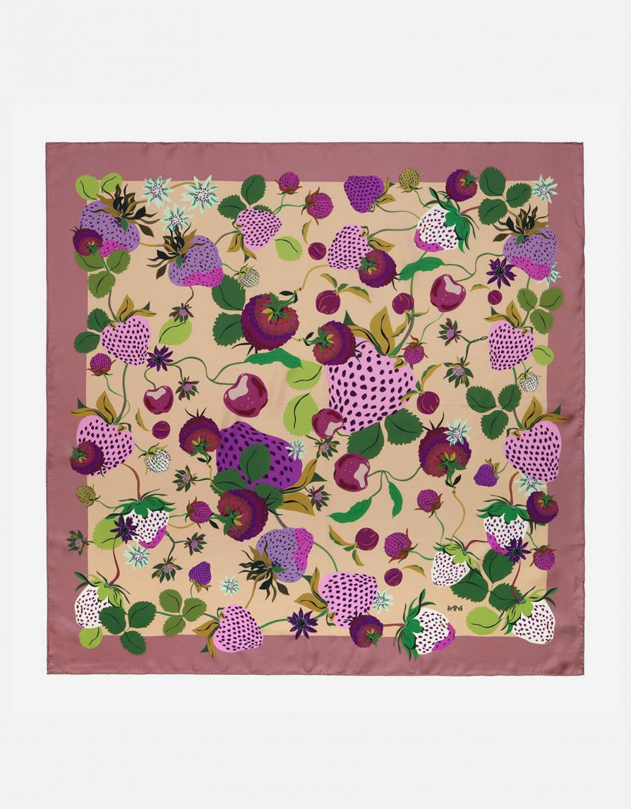 Vintage Strawberries | Beige Mauve Purple | Classic Silk Twill Square Scarf
