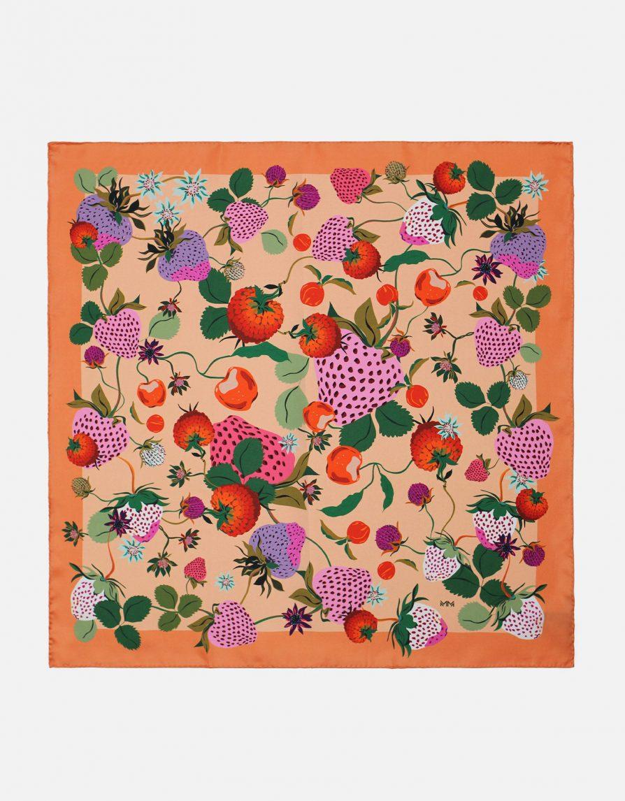 Bright Vintage Strawberries | Peach Pink Orange | Small Silk Twill Neckerchief Scarf