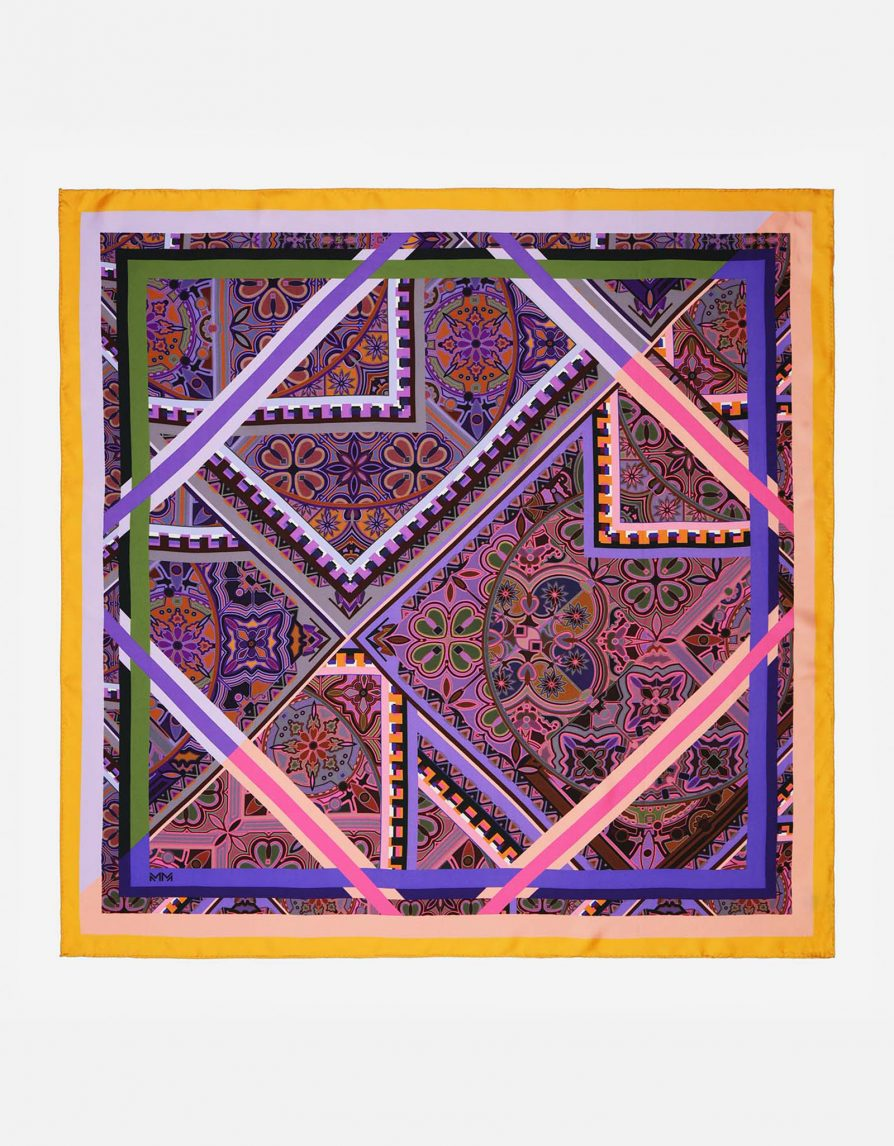Mixed Tiles | Yellow Pink Grey | Classic Silk Twill Square Scarf