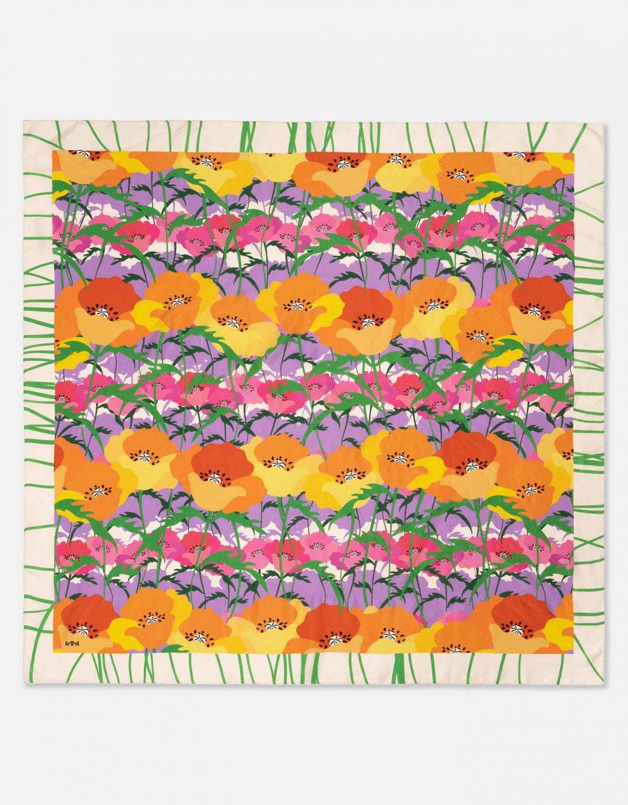 Poppy Field Striped | White Green Lilac | Dupioni Silk Maxi Pareo Scarf