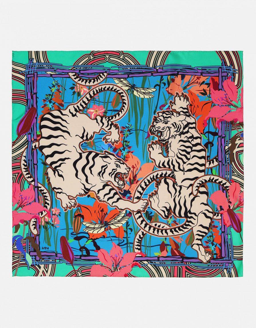White Tigers in a Pond Scene | Bright Green Blue Pink | Small Silk Twill Neckerchief Scarf