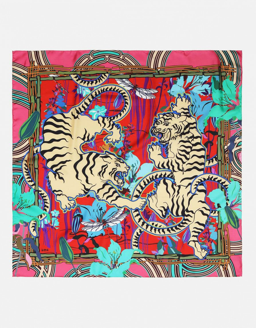 White Tigers in a Pond Scene | Pink Red Cream | Classic Silk Twill Square Scarf