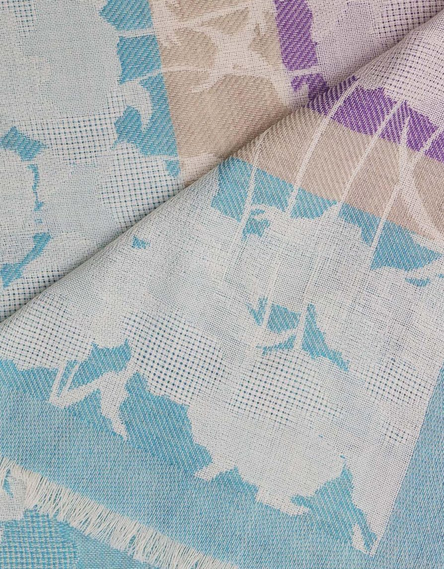 Jacquard Poppy Field | Turquoise Lilac Beige | Maxi Wool Blanket Size Scarf
