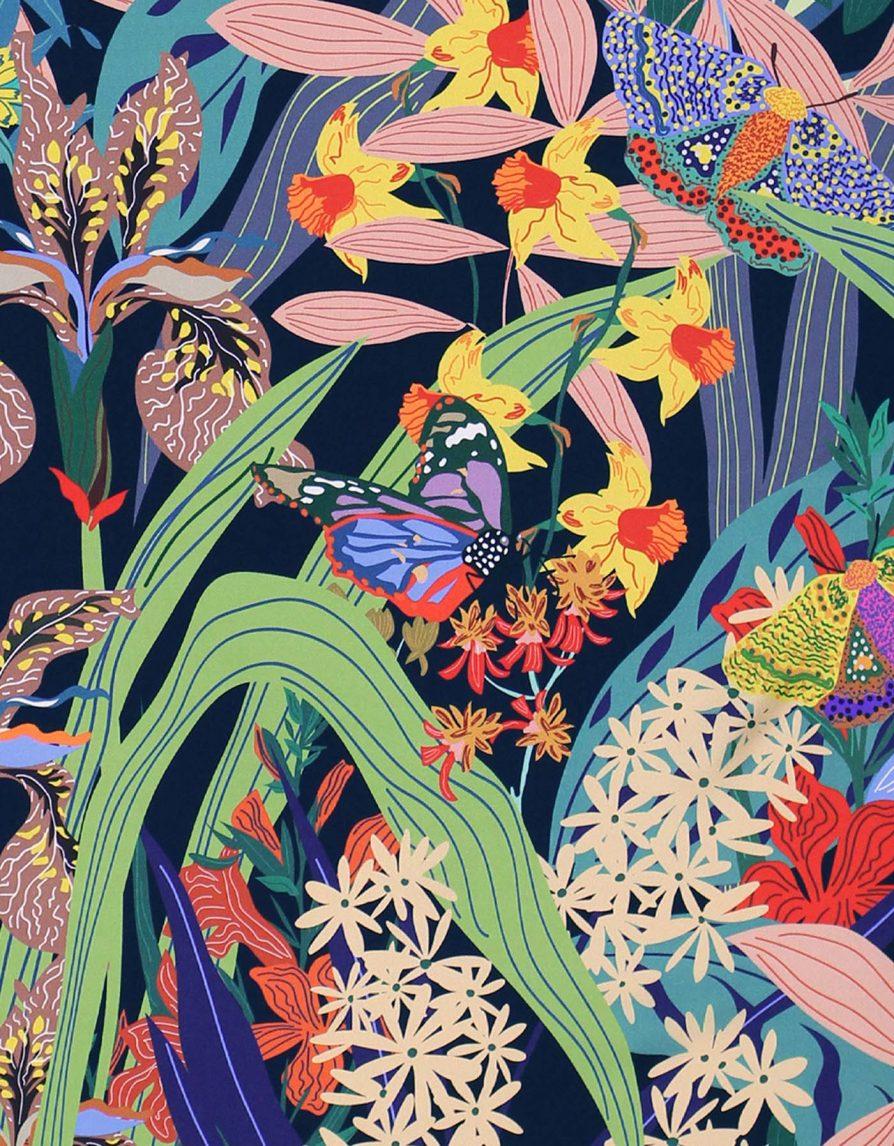 Butterfly Garden   Navy Orange Multicolor   Classic Silk Twill Square Scarf