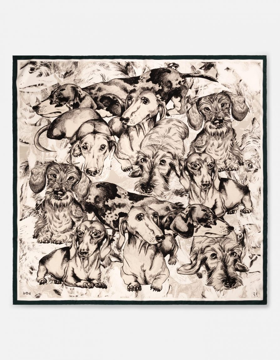 Dachshund Teckel Pencil Sketches | Off White Grey Dark Teal | Classic Silk Twill Square Scarf